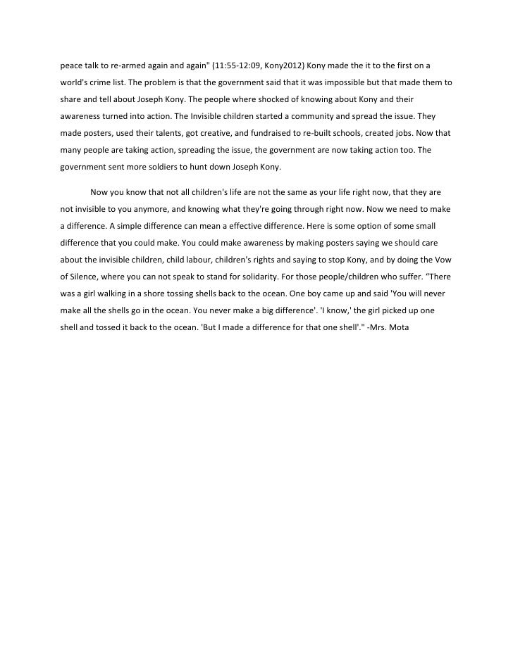 marielle the invisible children essay final copy  2 peace