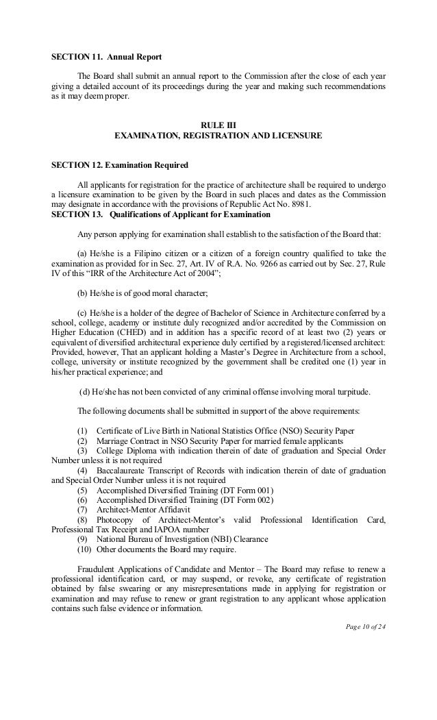 ra 9266 architecture act of 2004 _____ the irr of ra 9266 (the architecture act of 2004) effective 01 dec 200.