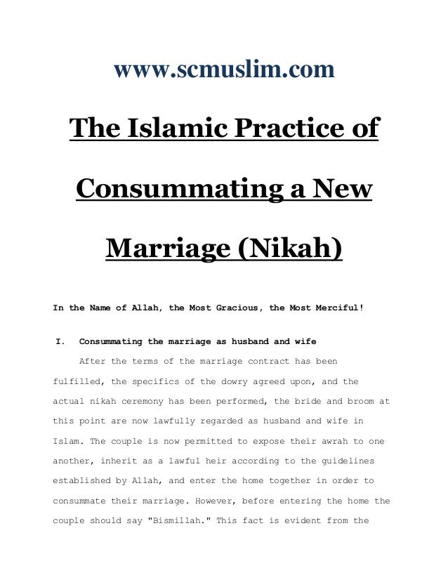 The islamic practice of consummating a new marriage (nikah