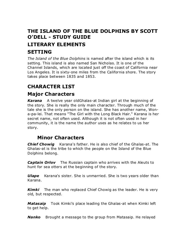THE ISLAND OF THE BLUE DOLPHINS BY SCOTT O'DELL - STUDY GUIDE 