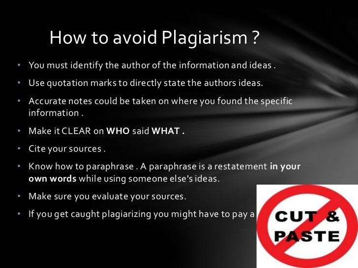 Avoiding getting caught plagiarism essay