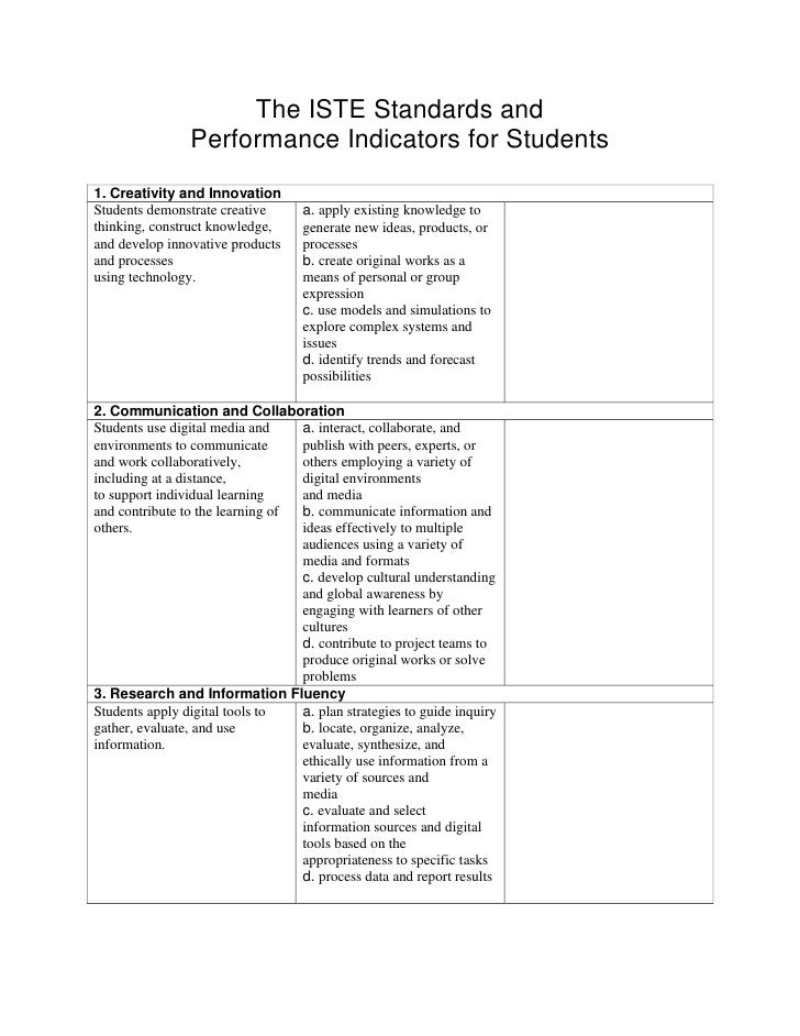The ISTE Standards and                Performance Indicators for Students1. Creativity and InnovationStudents demonstrate ...