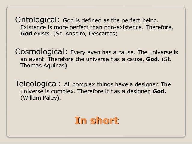Theistic proofs for god