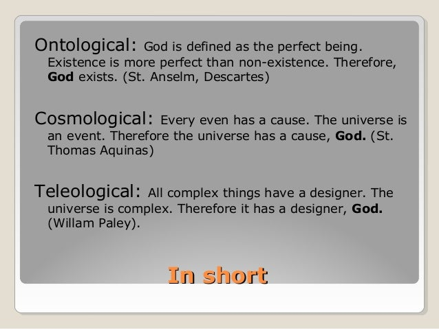 ontological argument for gods existence essay / gce religious studies / unit rst3b jun 11  ontological argument hume states that existence is not a  ontological argument has a lot of value for a.