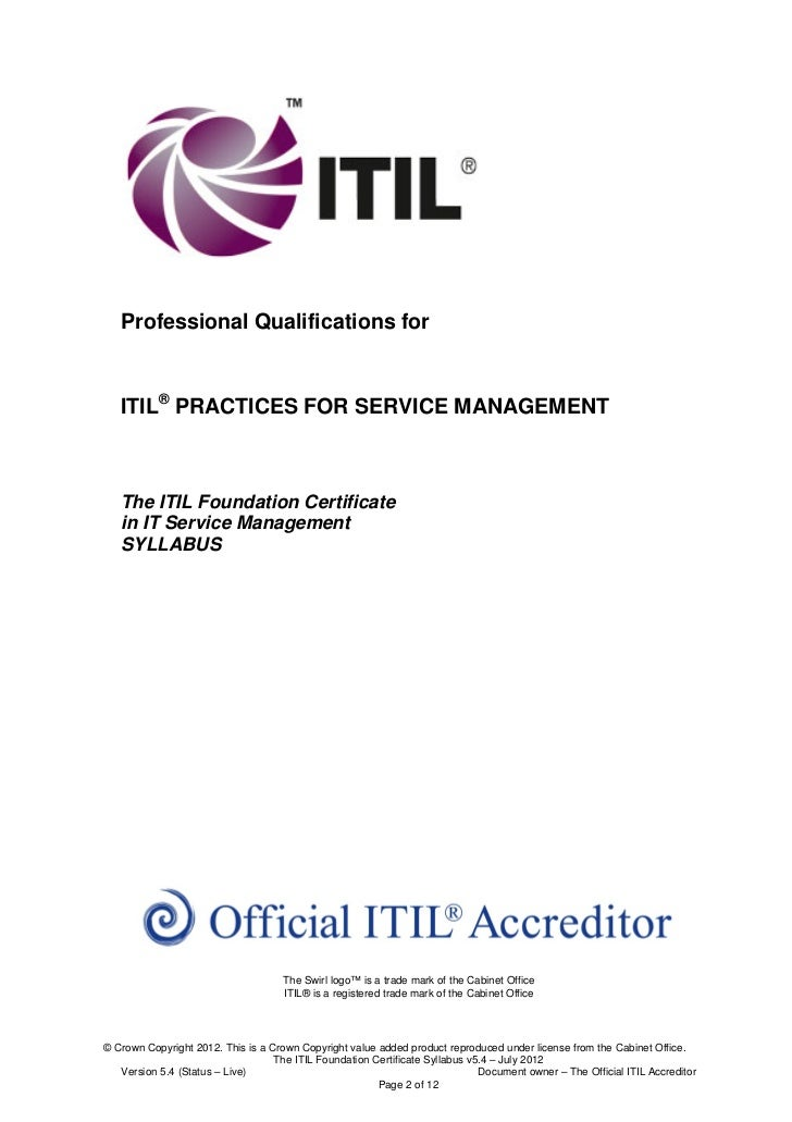 Professional Qualifications for   ITIL® PRACTICES FOR SERVICE MANAGEMENT   The ITIL Foundation Certificate   in IT Service...