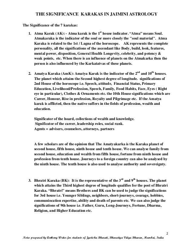 THE SIGNIFICANCE OF KARAKAS IN JAIMINI ASTROLOGY