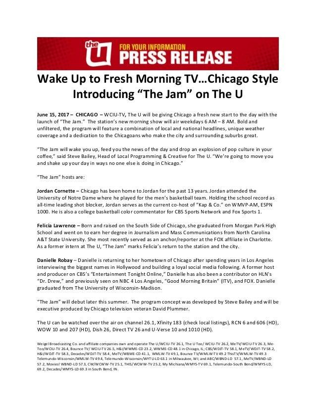 The Jam Press Release/ WCIU