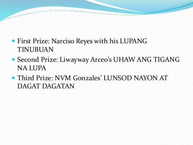 lupang tinubuan by narciso reyes Essays - largest database of quality sample essays and research papers on lupang tinubuan by narciso reyes.
