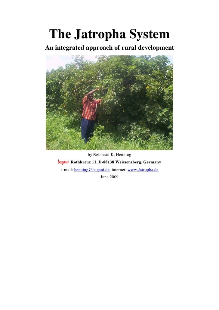The Jatropha SystemAn integrated approach of rural development                   by Reinhard K. Henning    baganí Rothkreu...