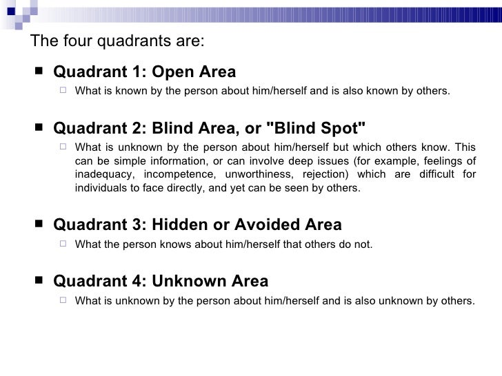The johari window for Window quadrant
