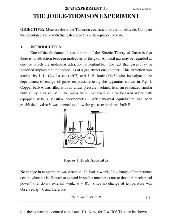 The joule thomson experiment