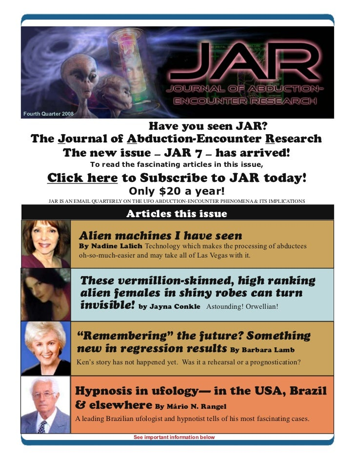 Fourth Quarter 2008                                               Have you seen JAR?  The Journal of Abduction-Encounter R...