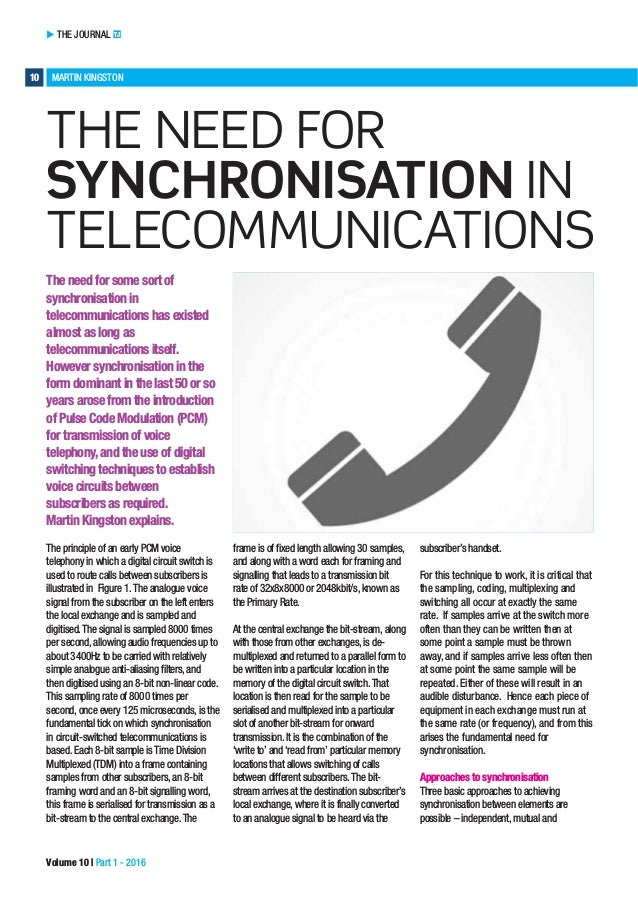 THE JOURNAL TJ 10 MARTIN KINGSTON Volume 10 | Part 1 - 2016 THE NEED FOR SYNCHRONISATION IN TELECOMMUNICATIONS The need fo...