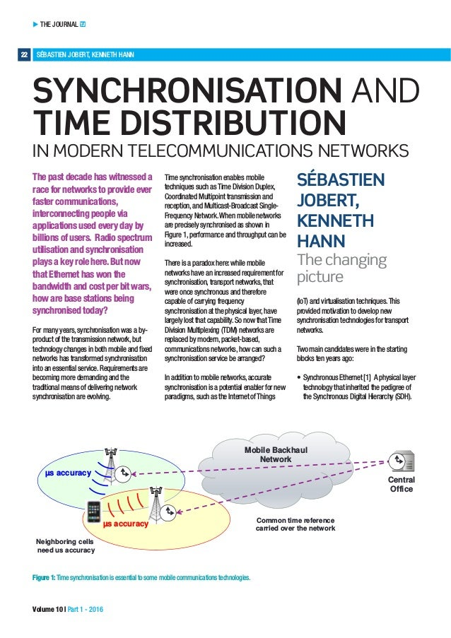 THE JOURNAL TJ 22 SÉBASTIEN JOBERT, KENNETH HANN Volume 10 | Part 1 - 2016 SYNCHRONISATION AND TIME DISTRIBUTION IN MODERN...