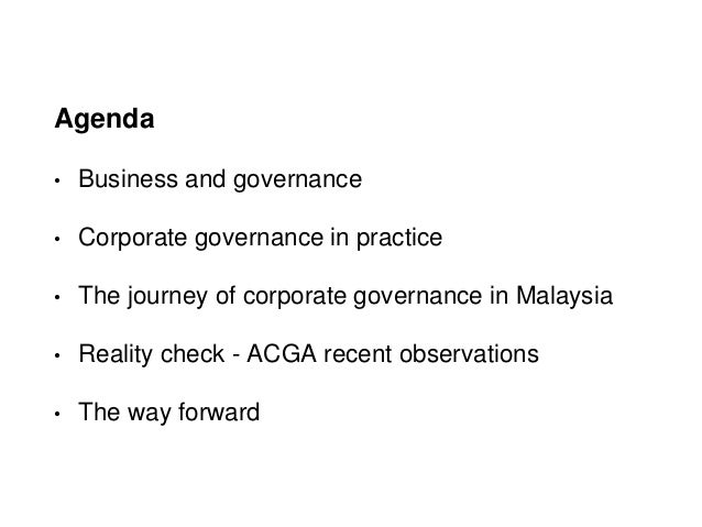 """corporate governance in malaysia A new malaysian code on corporate governance 2017 (""""mccg"""") was released by the securities commission malaysia and takes effect on the 26 april 2017, replacing the 2012 code the new mccg introduces substantial changes and recommendations with a view of raising the standards of corporate governance of companies in malaysia."""
