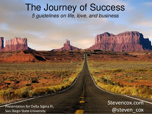 The Journey of Success  5 guidelines on life, love, and business  Stevencox.com  @steven_cox  Presentation for Delta Sigma...