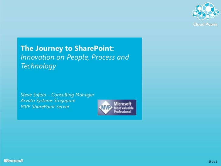 The Journey to SharePoint:Innovation on People, Process andTechnologySteve Sofian – Consulting ManagerArvato Systems Singa...