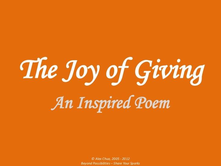 The Joy Of Giving Alex Chua