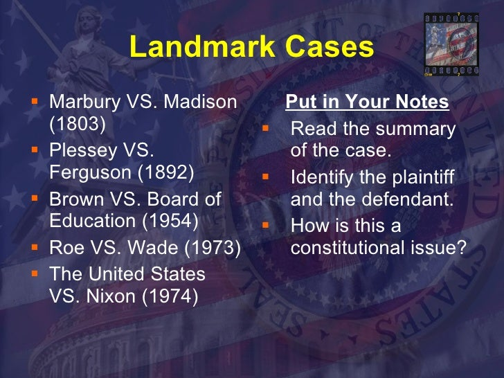 "a description of marbury v madison as a landmark case in united states law There, the supreme court declared that portion of the judiciary act of 1789   fletcher vs peck, was the first supreme court decision to declare a state law   expansions of federal power in the future through a broad definition of ""implied  powers""  many commentators and scholars have viewed milligan as a  landmark case."