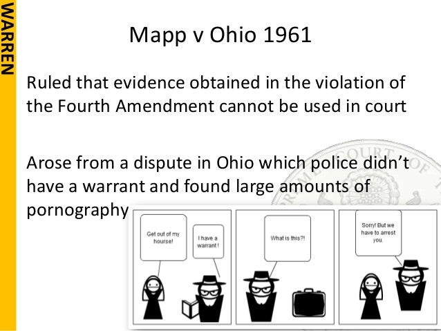 the 4th amendement and mapp v The ruling of mapp v ohio said that the fourth amendment prohibition  the 4th and 14th amendments protect  the 4th amendment protects.