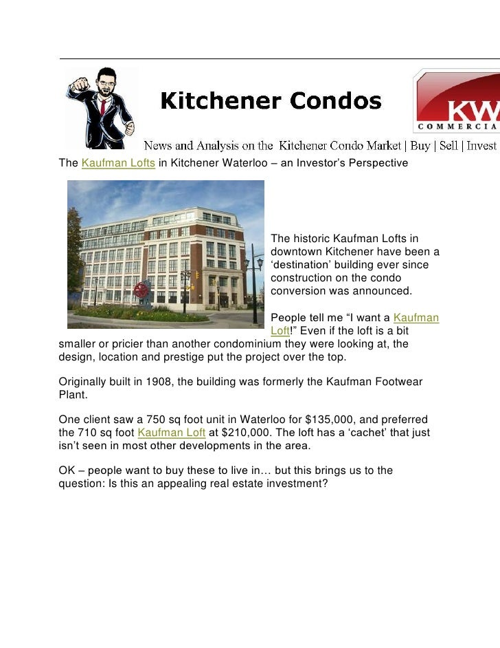 "The Kaufman Lofts in Kitchener Waterloo – an Investor""s Perspective                                               The hist..."