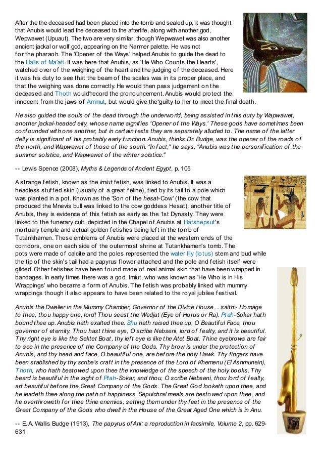 Anubis, Ancient Egyptian God of Embalming and the Dead