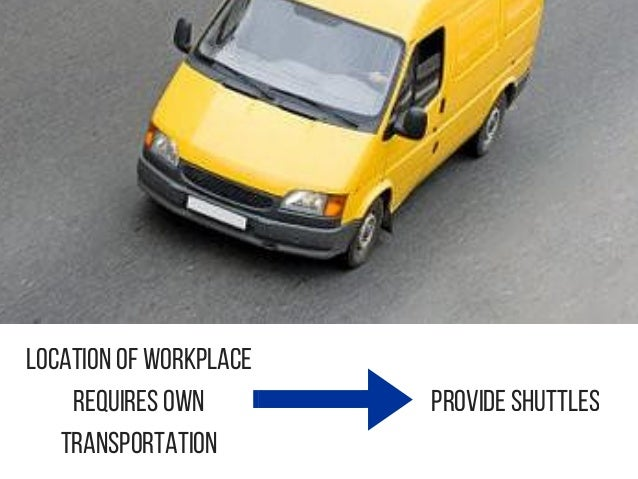 Location of workplace requires own transportation Provide Shuttles