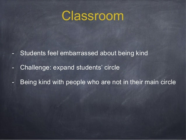 Classroom - Students feel embarrassed about being kind - Challenge: expand students' circle - Being kind with people who a...