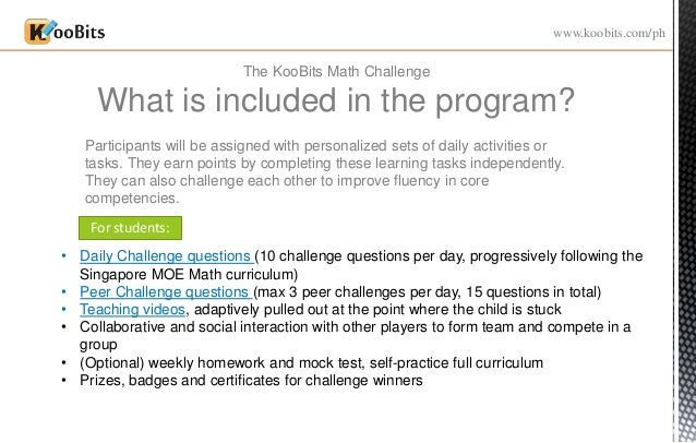 Koobits Challenge - Online Singapore Maths Competition now in the Phi…