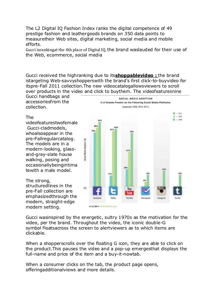 The L2 Digital IQ Fashion Index ranks the digital competence of 49prestige fashion and leathergoods brands on 350 data poi...