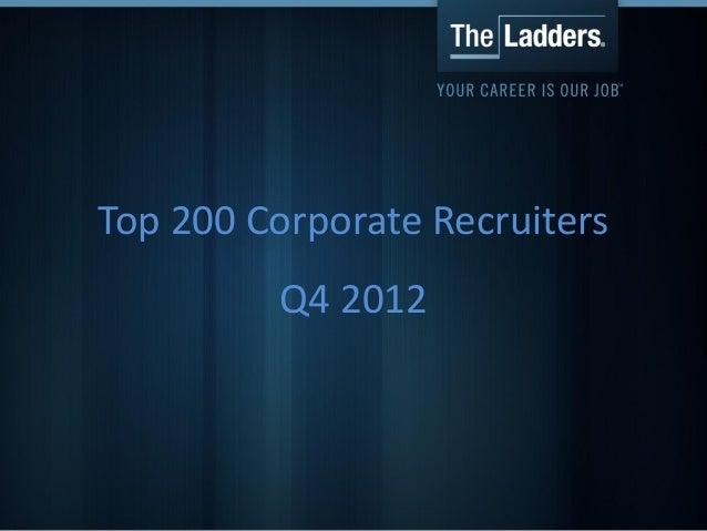Top 200 Corporate Recruiters         Q4 2012