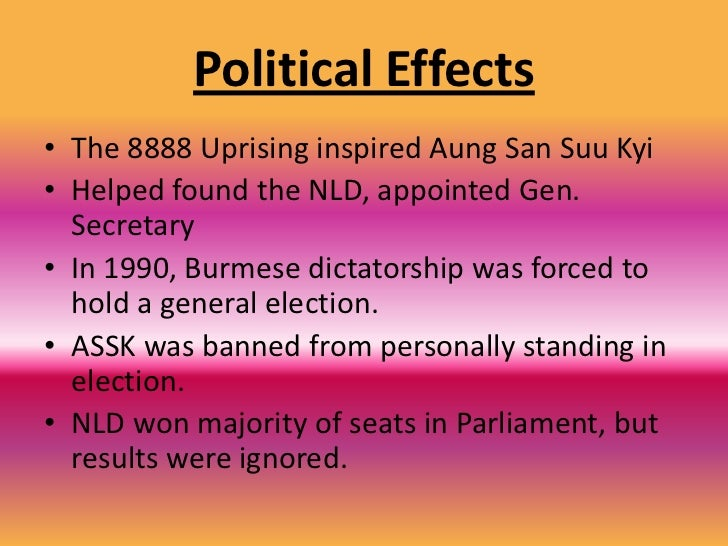 Political Causes<br />In 1988, Aung San SuuKyi returned home to Burma<br />Became part of the country's nationwide democra...