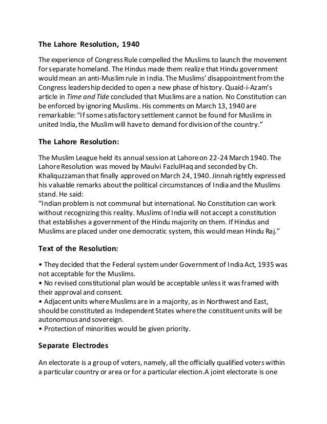 Lahore resolution 1940 essay