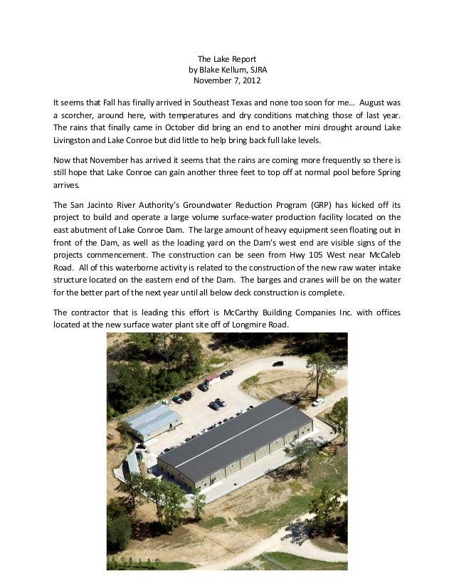 The Lake Report                                     by Blake Kellum, SJRA                                      November 7,...