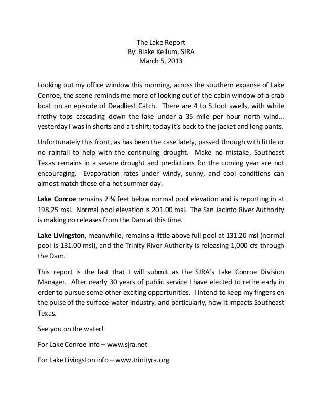 The Lake Report                               By: Blake Kellum, SJRA                                   March 5, 2013Lookin...