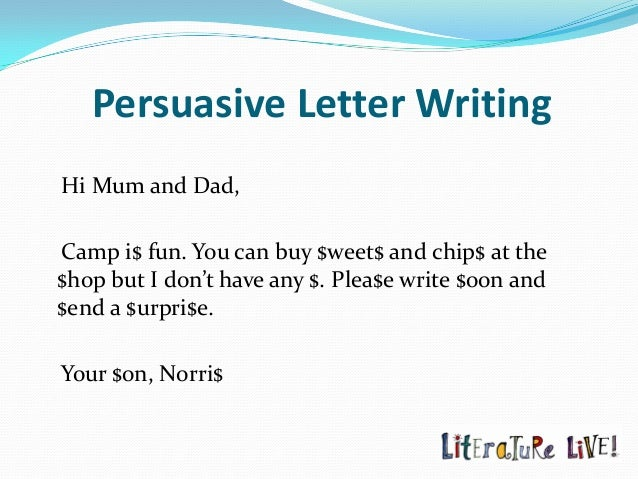 Persuasive texts the language of persuasion by jeni mawter persuasive letter expocarfo