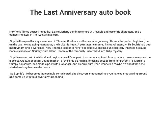 The Last Anniversary Auto Book