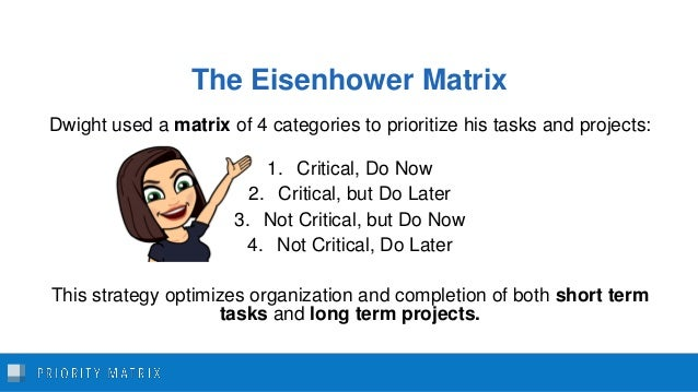 The Eisenhower Matrix Dwight used a matrix of 4 categories to prioritize his tasks and projects: 1. Critical, Do Now 2. Cr...