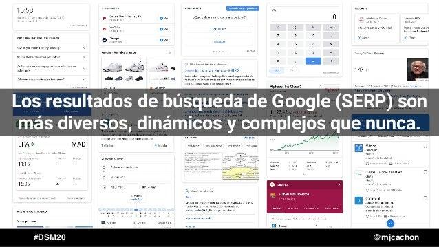 #DSM20 @mjcachon Los resultados de búsqueda de Google (SERP) son más diversos, dinámicos y complejos que nunca.