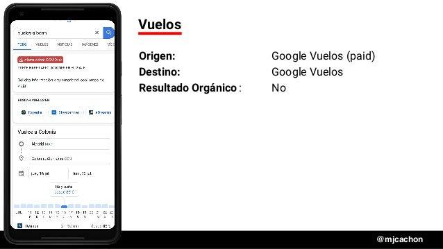 #DSM20 @mjcachon Vuelos Origen: Google Vuelos (paid) Destino: Google Vuelos Resultado Orgánico: No