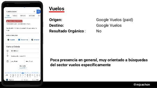 #DSM20 @mjcachon Vuelos Origen: Google Vuelos (paid) Destino: Google Vuelos Resultado Orgánico: No Poca presencia en gener...