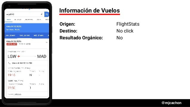 #DSM20 @mjcachon Información de Vuelos Origen: FlightStats Destino: No click Resultado Orgánico: No