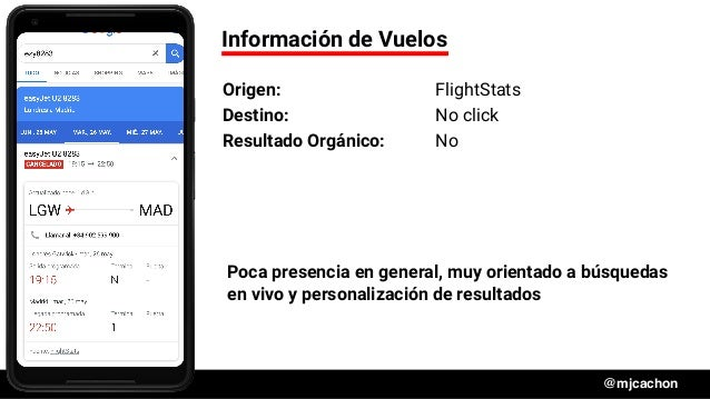 #DSM20 @mjcachon Información de Vuelos Origen: FlightStats Destino: No click Resultado Orgánico: No Poca presencia en gene...