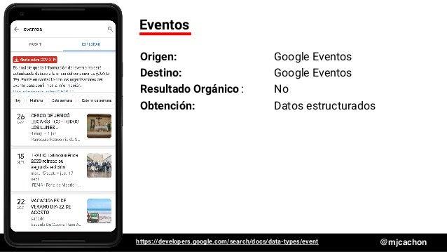 #DSM20 @mjcachon Eventos Origen: Google Eventos Destino: Google Eventos Resultado Orgánico: No Obtención: Datos estructura...