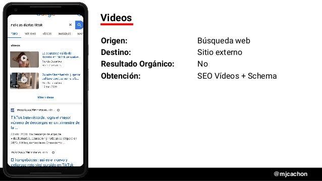 #DSM20 @mjcachon Videos Origen: Búsqueda web Destino: Sitio externo Resultado Orgánico: No Obtención: SEO Vídeos + Schema