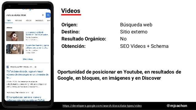 #DSM20 @mjcachon Videos Origen: Búsqueda web Destino: Sitio externo Resultado Orgánico: No Obtención: SEO Vídeos + Schema ...