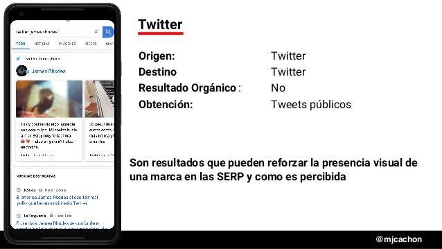 #DSM20 @mjcachon Twitter Origen: Twitter Destino Twitter Resultado Orgánico: No Obtención: Tweets públicos Son resultados ...