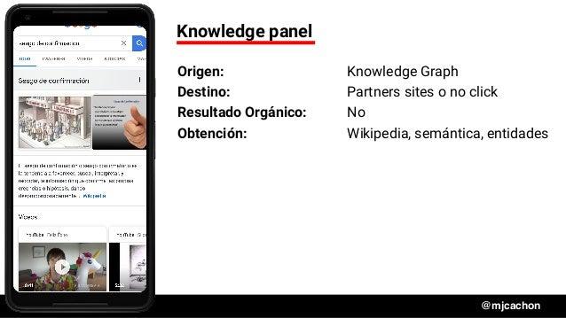 #DSM20 @mjcachon Knowledge panel Origen: Knowledge Graph Destino: Partners sites o no click Resultado Orgánico: No Obtenci...