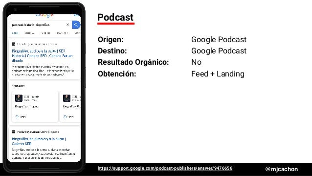 #DSM20 @mjcachon Podcast Origen: Google Podcast Destino: Google Podcast Resultado Orgánico: No Obtención: Feed + Landing h...