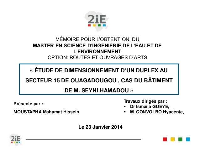 MÉMOIRE POUR L'OBTENTION DU  MASTER EN SCIENCE D'INGENIERIE DE L'EAU ET DE  L'ENVIRONNEMENT  OPTION: ROUTES ET OUVRAGES D'...